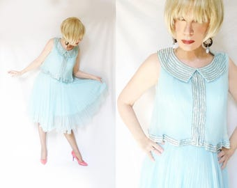 60s Vintage Formal Womens, Vintage Cocktail Dress, Mid Length, 1960s Sequin Party Dress, Mother of Bride, Mother of Groom, Wedding Guest