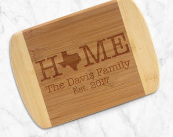 Home with State Personalized Bar Board - Custom Engraved & Eco-Friendly Bamboo Cutting Board, Two Toned Bamboo Board