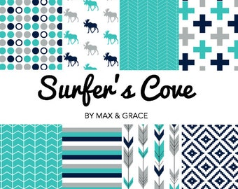 Surfers Cove. Navy, Teal, and Gray Bedding. Woodland Crib Bedding. Boy Crib Bedding. Baby Bedding. Woodland Nursery. Deer Crib Set.