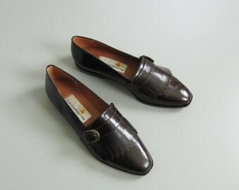 Vintage 1980s 1990s Liz Claiborne Kiltie Loafers. 90s Minimalist Monk Strap. Size US 6