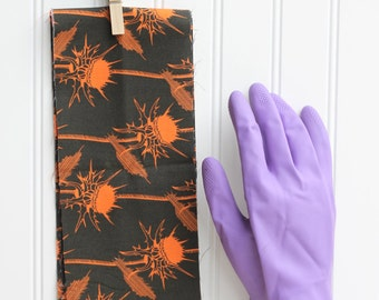 Orange Brown Thistle Cuff- Fancy Ruffled Rubber Gloves - Cleaning Gloves - Dishwashing Gloves