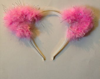 Pink Fuzzy Ears with Silver Tinsel