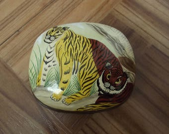 Cute TIGER box made out of paper mache - made in India with hand painted tigers on the lid