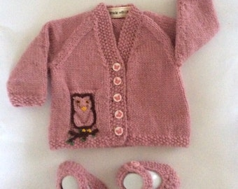 Dusky pink Owl Cardigan with matching shoes to fit 0-3 month old baby girl