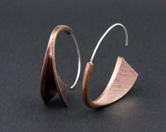 Suki Earrings: Copper, 3D printed acrylic earrings in Copper acrylic paint