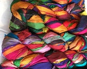 Multicolor Recycled Sari Silk Ribbon Yarn, 3.5 oz / 100 grams, 55 yards, Purple, Green, Blue, Pink, Red, Yellow, Upcycled, Bulky, Lot 074