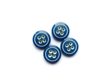 4 French Blue Buttons, White & Blue Vintage Buttons