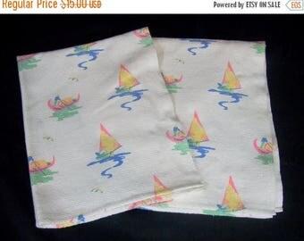 ON SALE Vintage Dishtowels Sailboat Boats Gondolas Boating Sea Water Set 2 Dish Towels