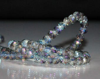 28 pcs 4x3mm Transparent Pale Blue w/ Magenta, Cobalt Blue &Purple Firepolish Rondelle Glass Beads TPB/MCP
