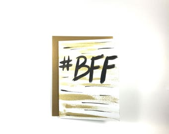 BFF - Hash Tag - Hand Painted Greeting Card - Blank