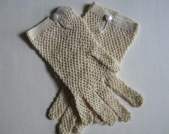 Pair of Vintage Antique Lace Crochet Ladies Gloves
