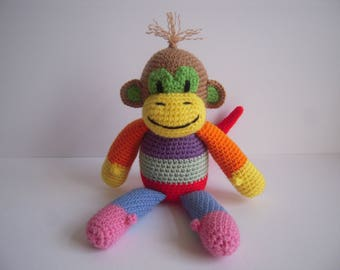 Crocheted Stuffed Amigurumi Patchwork Monkey
