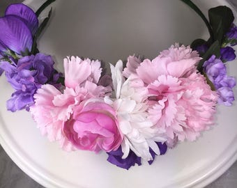 Spring Flower Crown, Bridal Flower Halo, Summer Wedding, Bridal Flower Halo, Photo Prop, Wedding Crown, Floral Headpiece, Bride
