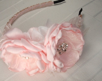 Pink Flower Girl Headband- Flower Girl Hard Headband-  Baby Headbands Etsy- Baby Girl Infant Toddler - Hair Bows Hairbow- Hard Headbands