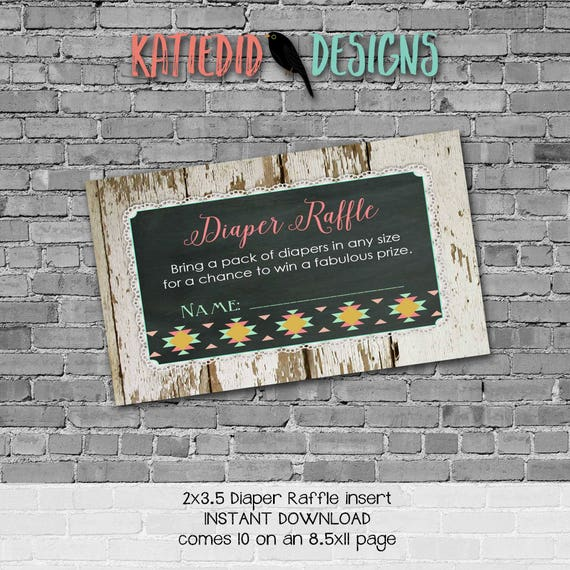 Diaper raffle INSTANT DOWNLOAD item 1439 insert enclosure card wood tribal lace country rustic chic gender neutral diaper wipes raffle card