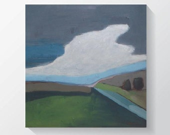 """Original abstract landscape painting acrylic painting clouds painting semi abstract painting cradled wood panel 15""""x15"""""""