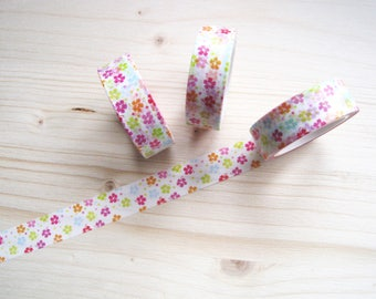 Colorful Tiny Flowers Washi Tape - Cute Colorful Flowers Washi Tape - Pastel Flowers Washi Tape - Japanese Masking Tape - 10 mt