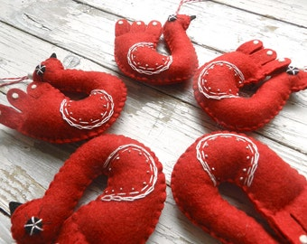 Set of 5 Felt Bird Red  Christmas Ornament