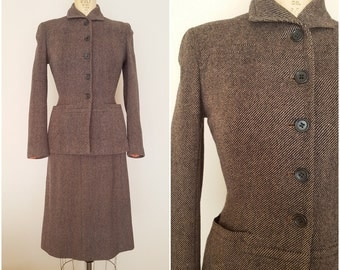 Vintage 1940s Wool Tweed Suit / Skirt Suit / 40s Wool Suit / Glenhunt / Small