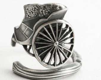 Unique Carriage Ring, Sterling Silver Spoon Ring, Antique British Princess Carriage and Flowers Jewelry Gift, Adjustable Ring Size (6592)
