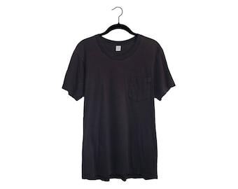 Vintage Jockey Life Deck Shirt Faded Black Simple Blank 100% Cotton Pocket T-Shirt, Made in USA - Large