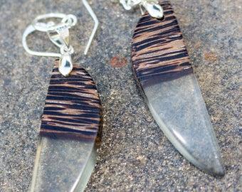 Resin jewelry, resin earrings, wooden earrings, wood jewelry, wood earrings