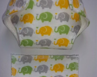Baby Doll Diaper/wipe - yellow, green, taupe(grayish) elephants  - adjustable for many dolls such as bitty baby