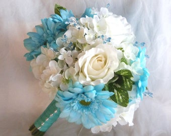 Silk flower bridal bouquet boutonnieres malibu and creme gerbera daisies wedding bouquets package