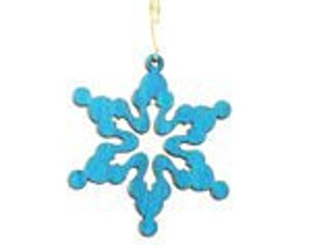 Cloudy Snowflake Wood Ornament