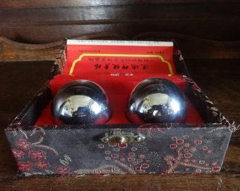 Vintage Chinese Hand Chime Balls Massage Stimulation Healthy Ball Lotus Pond Decorated Storage Box circa 1980's / English Shop