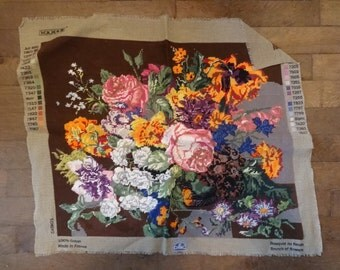 Vintage French Bouquet de fleurs Cross Stitch Bunch of Flowers Tapestry Wall Hanging Picture Pattern circa 1980's / English Shop