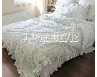 cream pastel Blue floral ruffled Bedding queen size Duvet cover shabby chic bedding sets with 2 ruffle pillowcases Nurdanceyiz Turkey