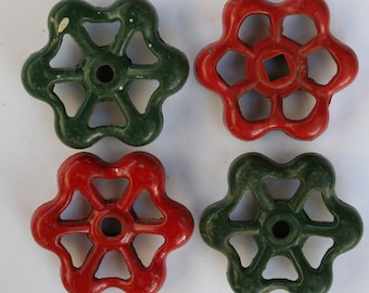 Set of 4  Sweet and Festive Red and Green Vintage Valve  Handles~ Shipping Special~ Holiday~Christmas ~Steampunk