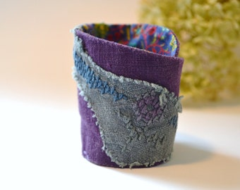 purple linen tattered crosstitch wrist cuff - boho gypsy fabric wrist cuff - crosstitch handdyed accents textile bracelet - gift for her
