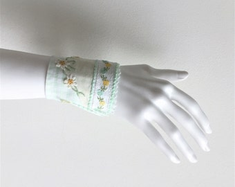 light green checkered textile floral wrist cuff - shabby green bracelet - yellow gold floral details - mothersday gift - green fabric cuff