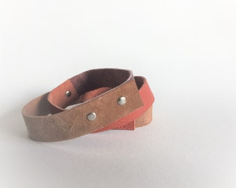 wrap leather bracelet cuff in brown tones - brown leather festival wrap bracelet - brown genuine leather wrist cuff - gift for her