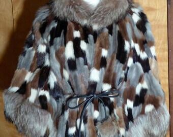 Fabulous Vintage Late 60s Patchwork Multicolor Mink Fur Cap Belted with Fur Pom-Poms