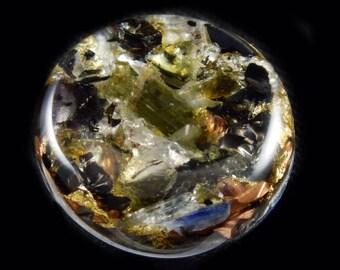Moldavite Orgone Pocket size. Arkansas, Petalite & Phenacite Crystals,Elite Shungite, Blue Kyanite, Tourmaline, Selenite, Rhodizite (d10)