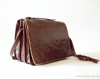 Vintage Leather Messenger Laptop Bag Briefcase / Brown Bag / Satchel