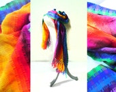 woven in rainbow scarf with fringe trim