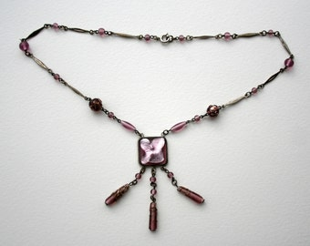 Vintage Czech Art Deco Glass Necklace
