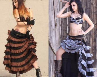 Steampunk Skirt - Ruffled Skirt - Gothic Long Skirt  - Made to Order