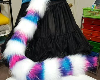 Sparkly Unicorn Galaxy and White Stripe Cat Tail