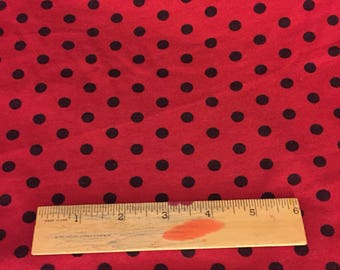 Black Aspirin Size polka Dot on Red rayon spandex knit Fabric