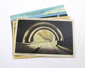 5 Vintage Pennsylvania Turnpike Postcards Used - Collage, Mixed Media, Scrapbooking, Assemblage, Paper Craft, Art Journal Supplies