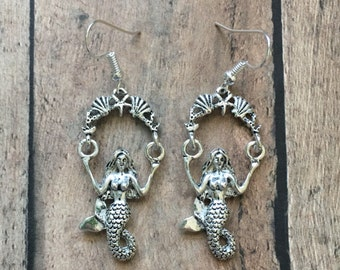 Silver swinging mermaid earrings