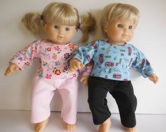 15 inch Doll Clothes; American Girl Bitty Twins Knit PJ's