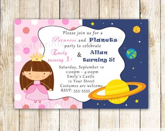 Planets Princess Invitation - Kids Birthday Party Girl Boy Birthday Twins Invitation Princess Invitation Space Invitation Planets Invitation