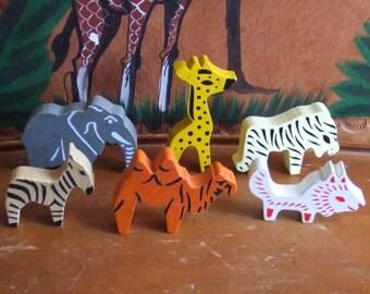 Vintage Group of 6 Wood Wild Animal Toys.  Wolf, Camel, Elephant, Zebra, Giraffe and Tiger. Great Design.