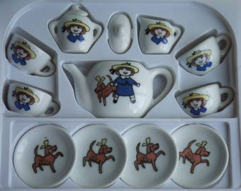 Vintage Madeline Toy Tea Set. 13 Piece. Porcelain. A Schylling Product Based on The Little French Orfan Girl. Still in Box. Never Used.